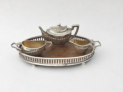 1905 Levi & Salamam Solid Silver Miniature Tea Set On A Tray (R2662)