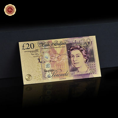 WR 24K GOLD Colored New Polymer £20 UNC Twenty Pound Note Bank of England Gifts