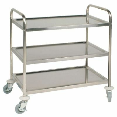 Vogue 3 Tier Stainless Steel Catering Clearing Trolley Large 940 X 855 X 535mm