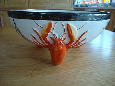 Vintage Antique Rare Lobster Bowl Queensware Seaweed Silver Plate Estate Find