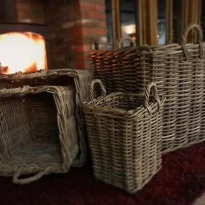 Square rattan wicker baskets for logs and storage, 4 sizes available