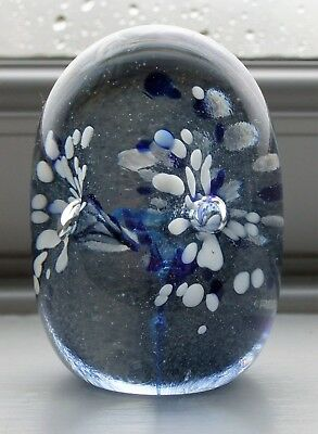 SIGNED Wallace & Sanders Blue Art Glass Paperweight