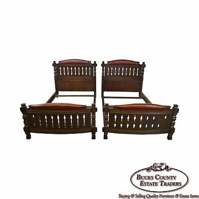 Romweber Viking Oak Vintage Pair of Twin Beds w/ Leather