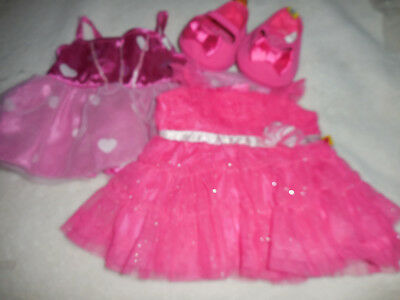 Build A Bear Two Pink Party Dresses with Pink Shoes