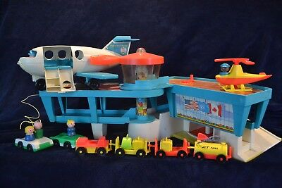 Vintage Fisher Price Little People Airport 996 Lot Helicopter Luggage cars plane