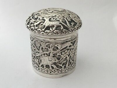 Antique Solid Silver Box & Cover (R2667)