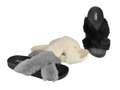 FREE SHIP! Fur Women's Slides Lot 24Prs-Pay $2.99/pr -ABS4121-W611