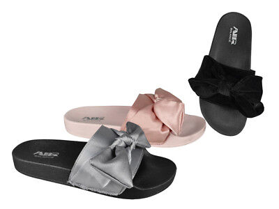 FREE SHIP! Velvet Bow Ladies Slides Lot 24Prs 3 colors-$3.99/pr -ABS4122-W510