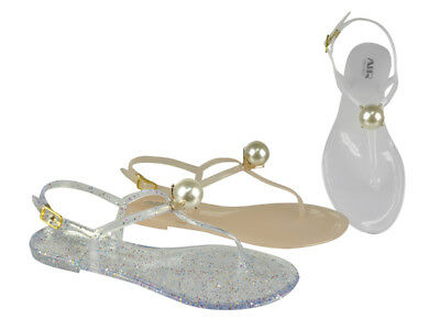 FREE SHIP! Jelly Pearls Women's Sandals Lot 24Prs-Pay $4.99/pr -ABS4152-W510