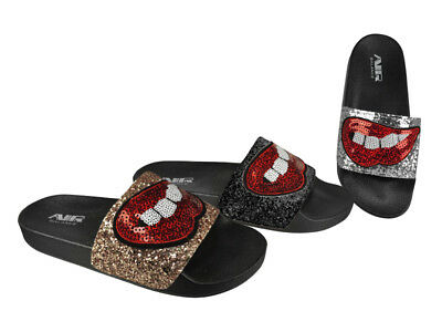 FREE SHIP! Sparkly Ladies Slides Lot 24Prs  3 colors-$3.99/pr-ABS4132-W611