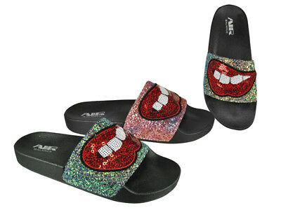 FREE SHIP! Sparkly Ladies Slides Lot 24Prs  Mix colors-$3.99/pr-ABS4133-W510