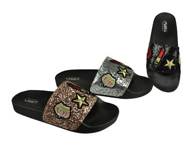 FREE SHIP! Sparkly Ladies Slides Lot 24Prs  Mix colors -$3.99/pr-ABS4130-W611
