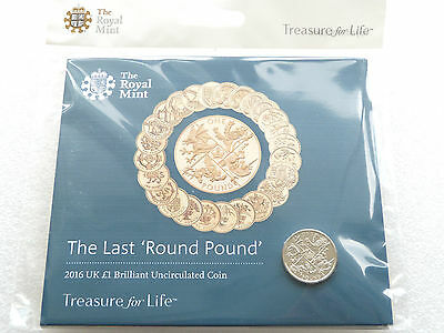 2016 Royal Mint Last Round Pound BU £1 One Pound Coin Pack