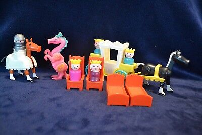 Vintage 1974 Fisher Price Little People Castle Accessories Lot Dragon King Queen