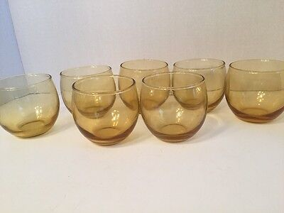 7 vintage amber low ball glasses