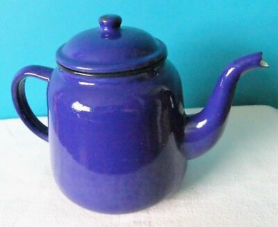 BIG Navy Blue Vintage Enamel Teapot / Coffeepot Made in China