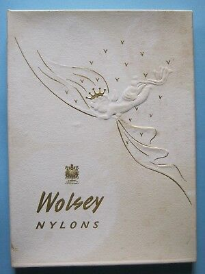 Vintage Pair Boxed Wolsey Nylon Seamed Stockings Fully Fashioned Size 9.5