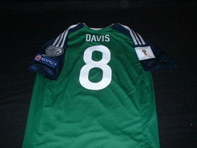 Northern Ireland Ulster Football Small Mans Davis no8 World Cup 2018 Home Jersey