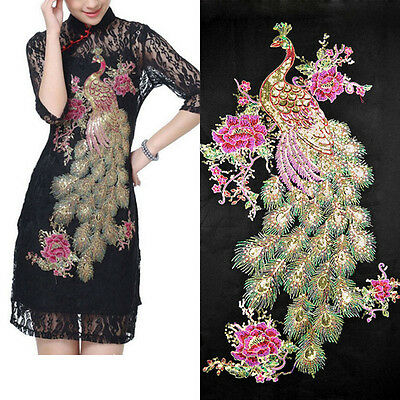 Blossom Peacock Applique Clothing Embroidery Patch Sticker Iron Sew Cloth DIY