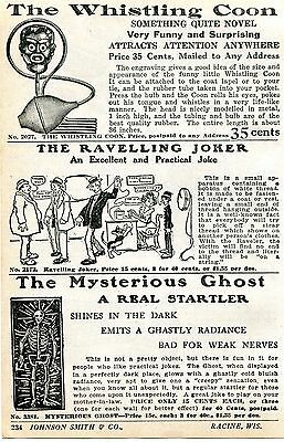 1928 Print Ad of Whistling Coon Black Americana Ravelling Joker Mysterious Ghost
