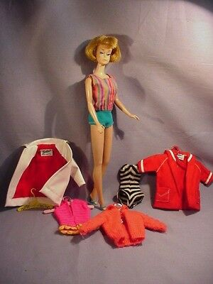 Vintage 1958 American Girl Bendable Legs Barbie Doll with Extra Outfits