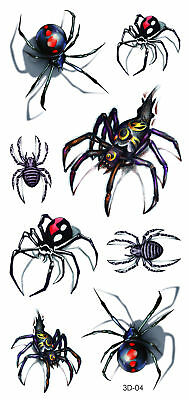 UK Spider 3D Waterproof Temporary Tattoo Lady Boy Girl Halloween Party Costume