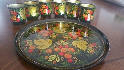 Vintage Russian Khokloma Hand Painted Laquer plate and cups.