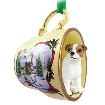 Jack Russell Terrier Dog Christmas Holiday Teacup Ornament Figurine Brown/Whi...