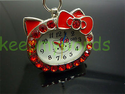 NEW DBS Kitty Cat Womens Girls Crystal Pendant Quartz Pocket Necklace Watch Red