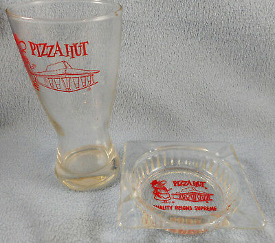 Vintage Pizza Hut Beer Glass Drinking & Ashtray Clear