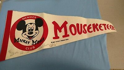 Vintage Disney Mouseketeers Pennant-Mickey Mouse Club - Autographed