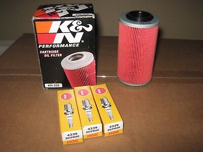 KN-556 Oil Filter & 3 - DCPR8E NGK Spark plugs ( Fits Seadoo, Sea-doo 4 tec )
