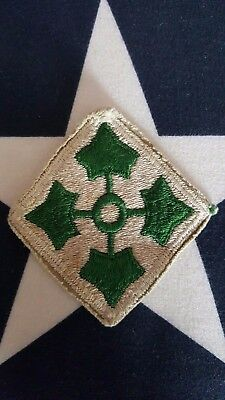 WW2 US Army 4th Infantry Division Patch WWII Cut Edge