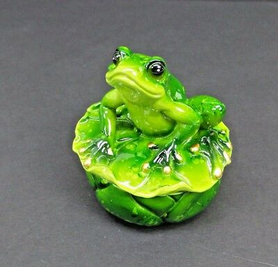 Green Frog on Lily Pad Trinket Box New