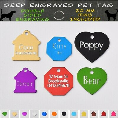 Traditional Deep Engraved Dog Cat Pet ID Name Tag & Ring Customised Personalised