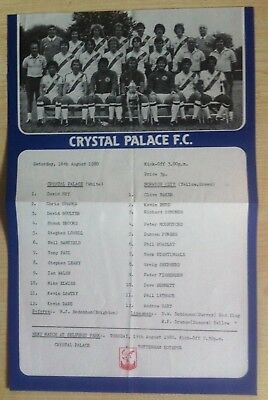 Crystal Palace Reserves v Norwich City Reserves - 16th August 1980