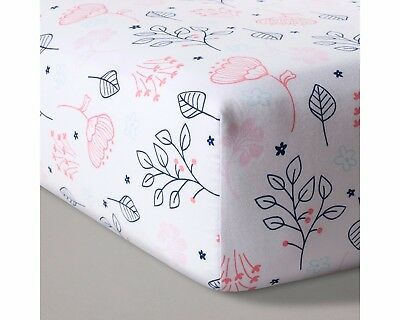 NEW Circo Baby Fitted Crib/Toddler Bed Sheet Navy & Pink Floral Nursery Decor