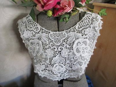 Pretty Antique Schiffli Cotton Lace Collar~Large Size~Padded~Roses