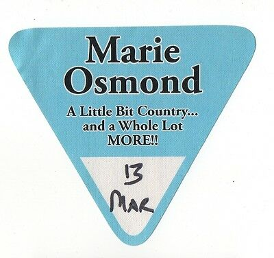 Marie Osmond A Little Bit Country Tour Local Crew Satin Backstage Pass