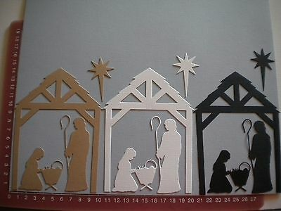 Scrapbooking die cuts - Christmas Nativity Scene x 3, Lge. Embellishments