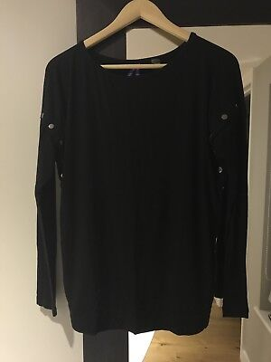 Seraphine Black Side Popper Maternity And Nursing Top Size 10