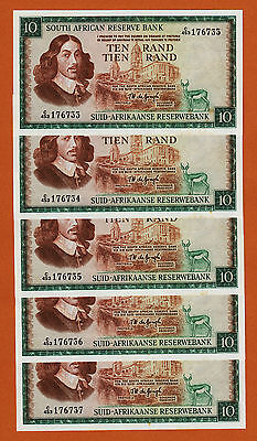 South Africa 5 Consecutive 10 Rand ND (1975) Pick-113c UNC Some Foxing