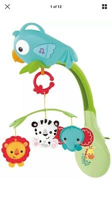 Fisher Price Rainforest 3 In 1 Musical Mobile Cot Baby Toy New Free Post