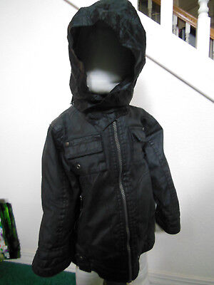 Pumpkin Patch Black Kids Coat Jacket Warm Winter Quilted lining Hooded 24 M