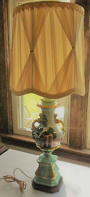 Vintage Victorian Style Floral Antique Hand Painted Lamp