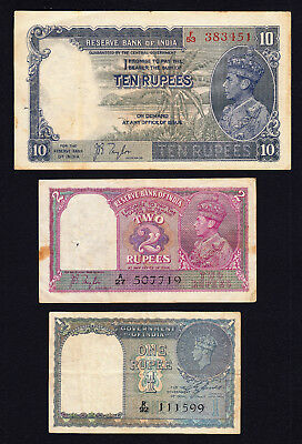 British India KGVI LOT 1, 2 & 10 Rupees 1937-1940 Pick-17a, 19a, 25a Circulated
