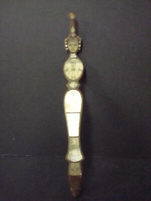 Vintage Indian Horn & Etched Woman Goddess Mother of Pearl Fan? Handle