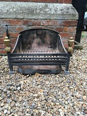 Nice Antique Cast Iron Fire Grate with Dogs and Ash Pan