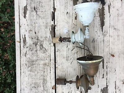 Two Vintage Brass Light Wall Sconce Fixtures