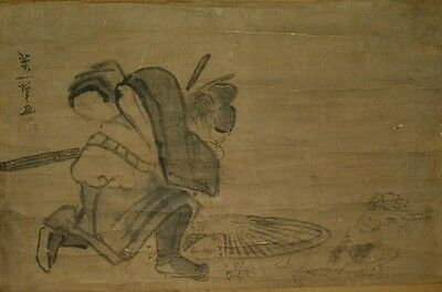 Hanging Scroll Picture Japanese Painting 鍾馗 Shouki Japan Demon Old ink Pic a197